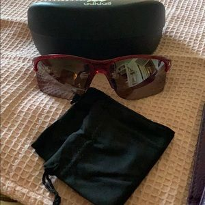 Women's Adidas Sporty Sunglasses-Dark Red